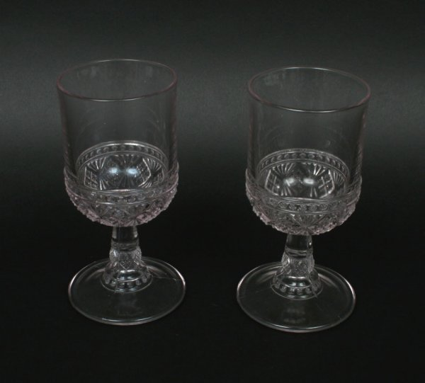 599: Pair American Pressed Glass Goblets