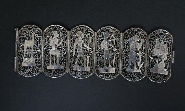 602: Egyptian Motif Silver Bracelet