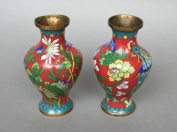 610: Pair of Small Chinese Cloisonne Vases