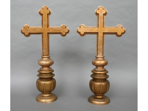 26: Pair of Gilt Processional Crosses 19th c.
