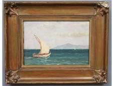 156: Vassilis Germenis Greek Sailing Oil Painting