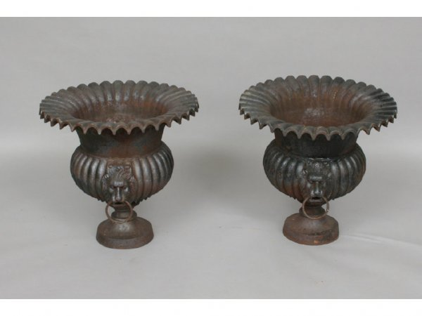 114: Pair of Vintage Cast Iron Lion Mask Garden Urns
