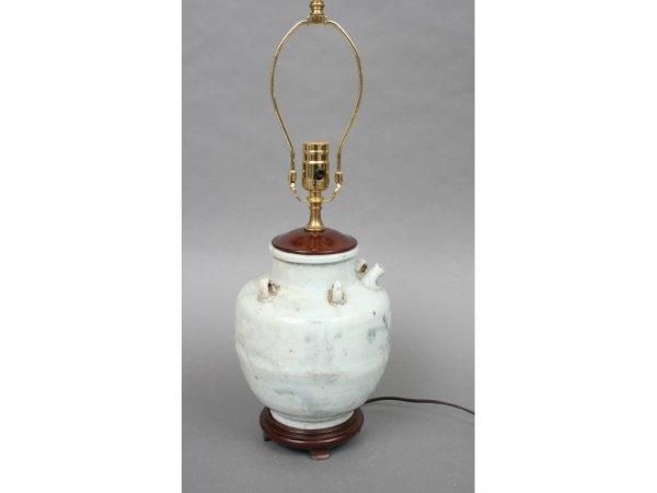 145: 19th c. Chinese Storage Jar Lamp