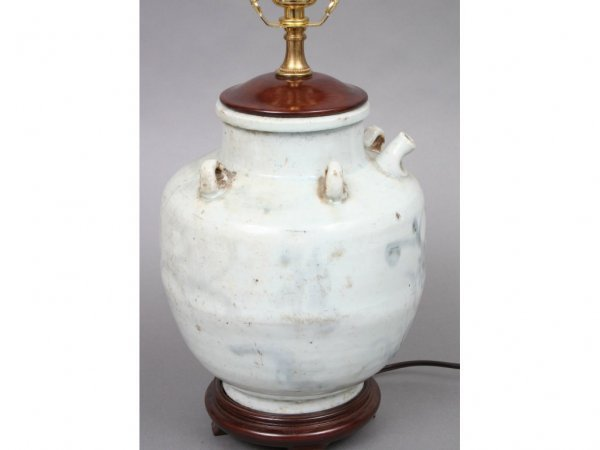 145: 19th c. Chinese Storage Jar Lamp - 2