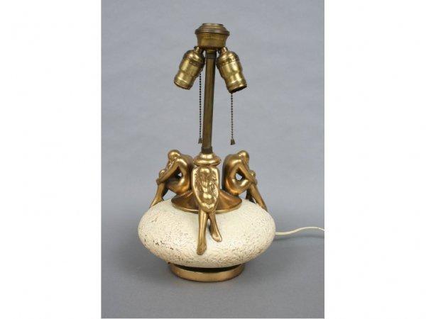 285: Olive Kooken Bronzed Art Deco Nude Lamp