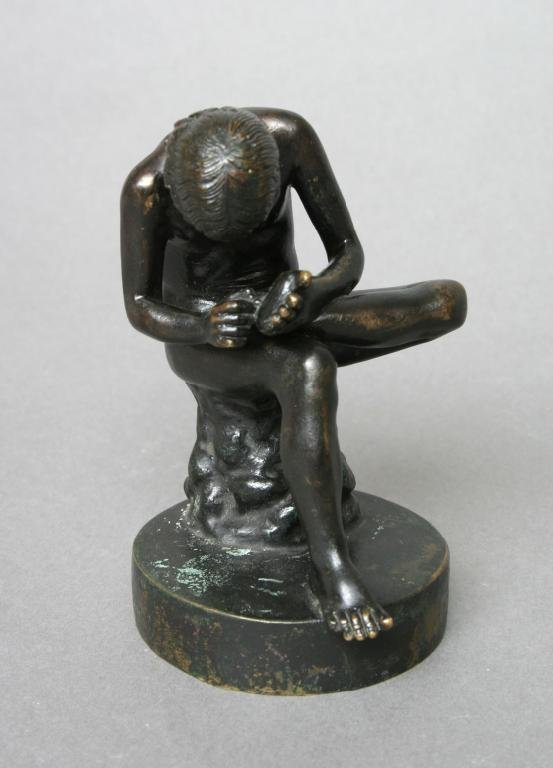 1: Bronze Spinario Boy With Thorn Sculpture 20th c.