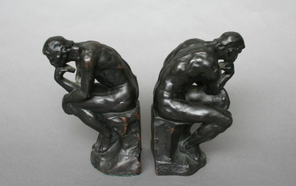 "7: Rodin ""The Thinker"" Bronzed Bookends"