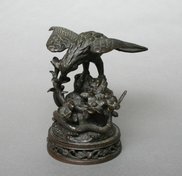 18: Asian Bronze Eagle and Serpent Sculpture