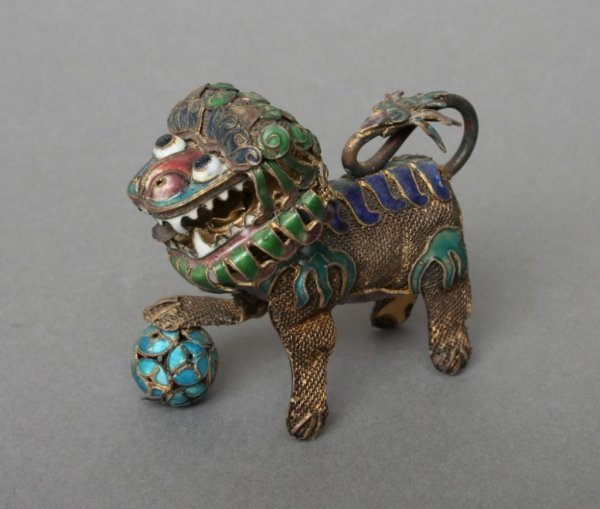 23: Chinese Cloisonne Fu Dog with Articulated Head