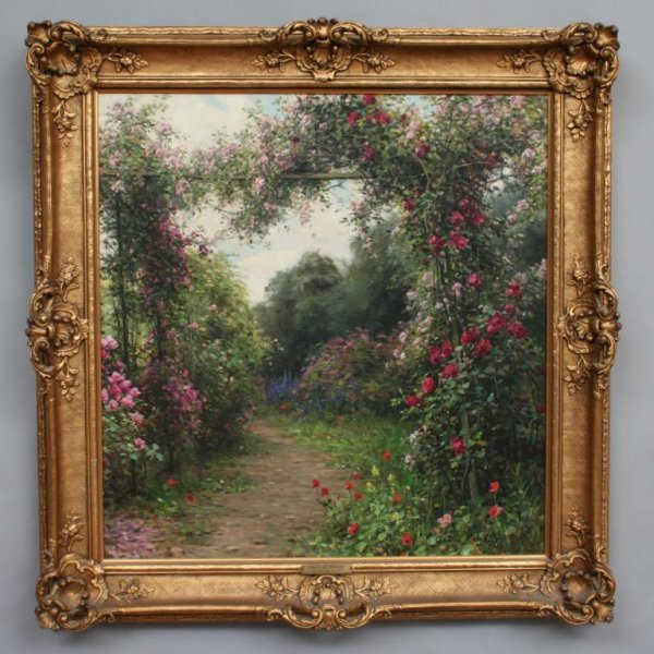 101: Louis Aston Knight Path of Roses Oil Painting