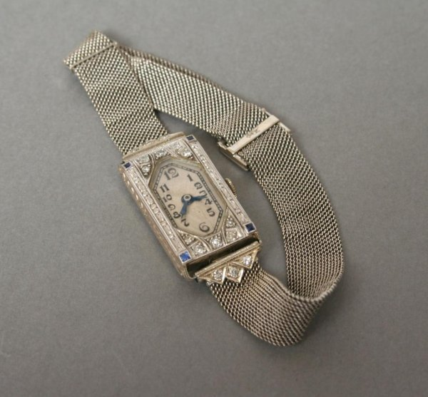317: Art Deco Ladies Gold Wrist Watch