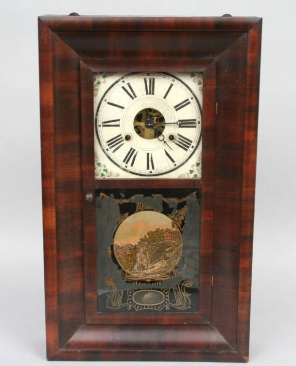 411: Jerome Ogee Mantel Clock with Eglomise Accents