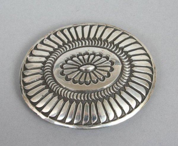 413: Sterling Silver Western Style Belt Buckle