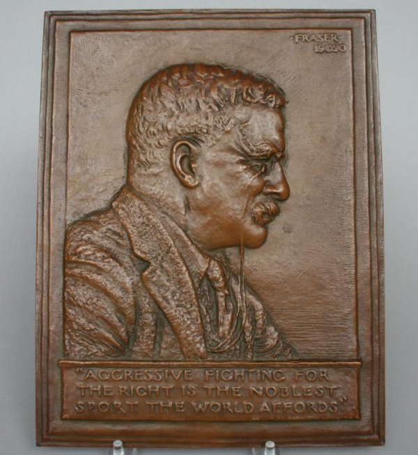 414: Teddy Roosevelt Bronze Plaque by Fraser