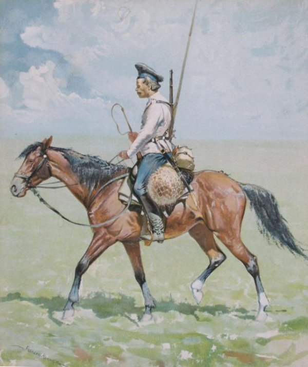 414A: Remington Print of a Soldier on Horseback