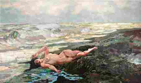 501: Montelatici Italian Pietre Dura Plaque of a Nude