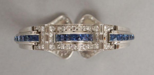 770: Art Deco Diamond and Sapphire Cuff Bracelet