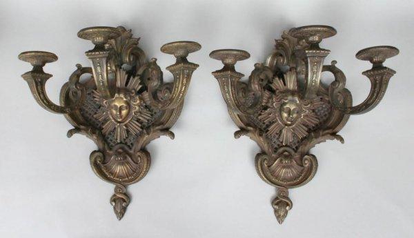 401A: Pair of Louis XIV Bronze Sconces