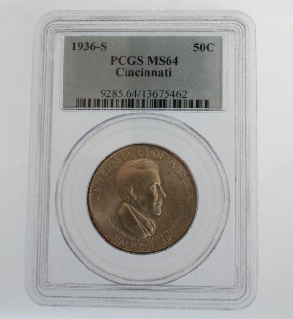 6: 1936-S Cincinnati Commem. Half Dollar Coin PCGS MS64