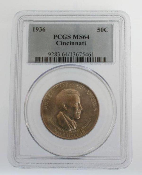 7: 1936 Cincinnati Commem Half Dollar Coin  PCGS MS64