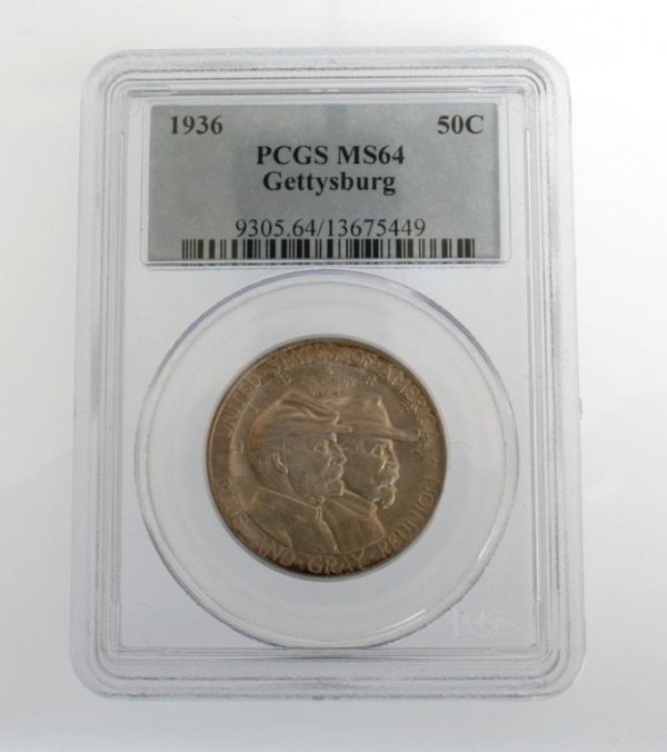 8: 1936 Gettysburg Commem. Half Dollar Coin PCGS MS64