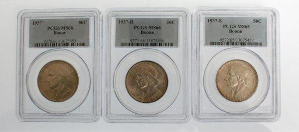 11: 1937 Boone Commem Half Dollar Coins P,D,S PCGS MS66