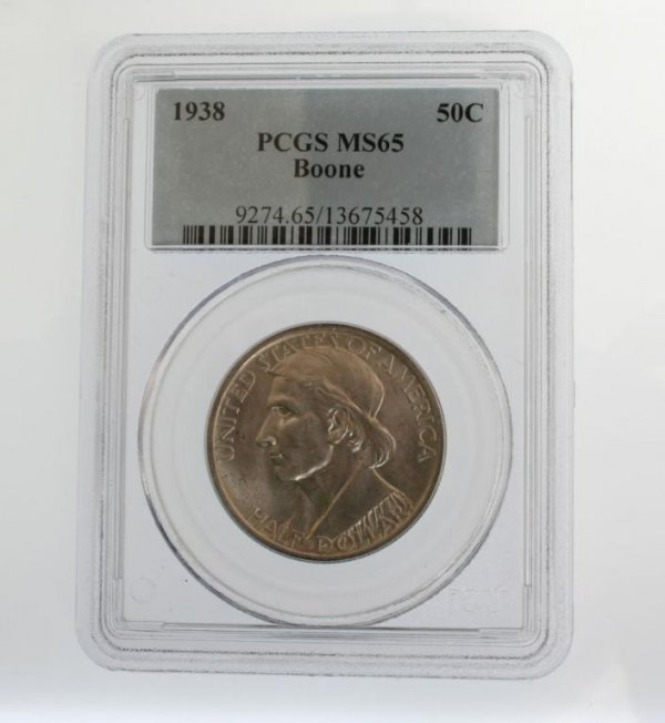13: 1938 Boone Commemorative Half Dollar Coin PCGS MS65