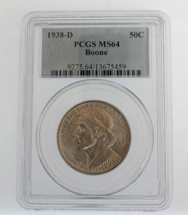 14: 1938-D Boone Commem. Half Dollar Coin PCGS MS64