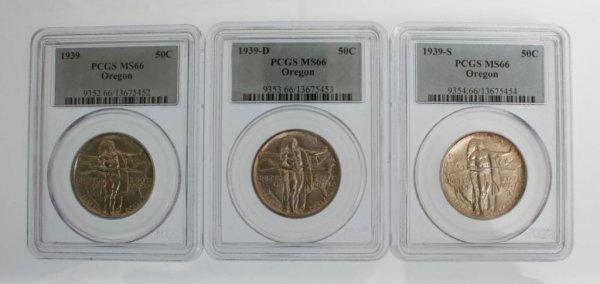 16: 1939 Oregon Trail Half Dollar Coin P, D,S PCGS MS66