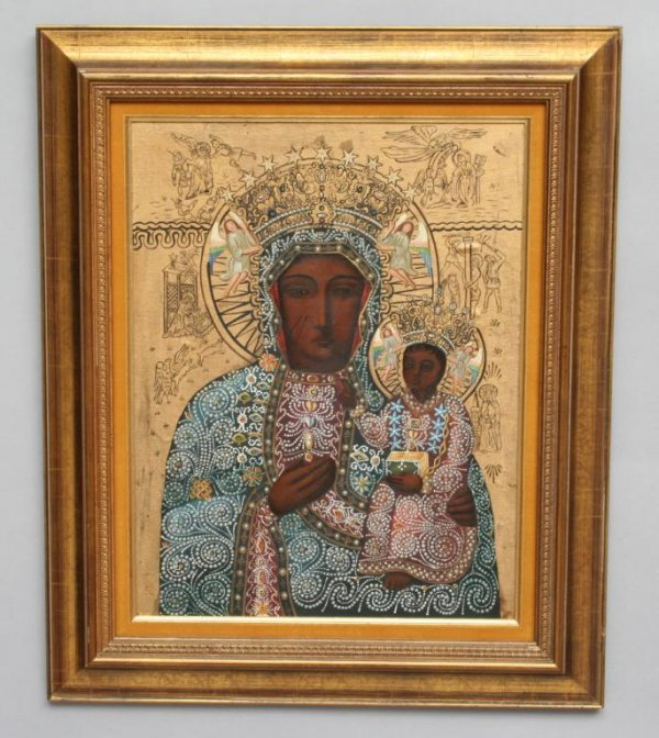 23A: Modern Black Madonna of Czestochowa Icon - 2
