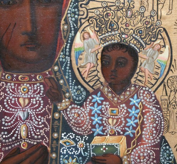 23A: Modern Black Madonna of Czestochowa Icon - 4