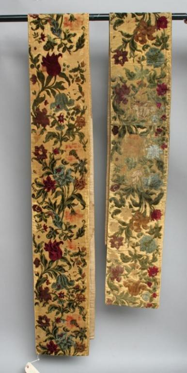 24: Two Cut Velvet Panels with Floral Motif 18th c.