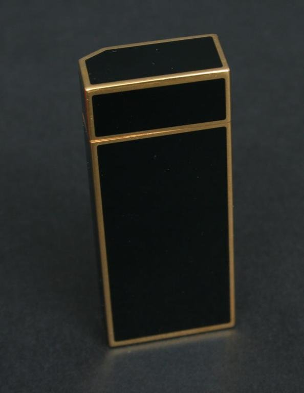 357: Black Enamel Cartier Lighter France - 2
