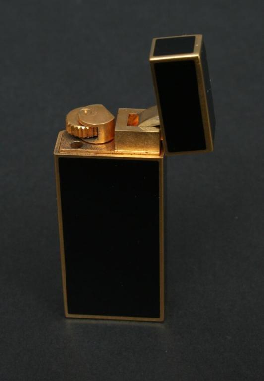 357: Black Enamel Cartier Lighter France - 4