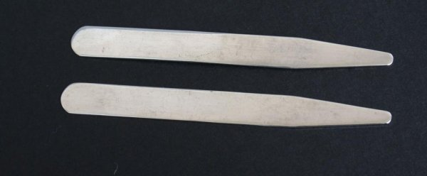 369: Pair Tiffany Sterling Silver Collar Stays - 2
