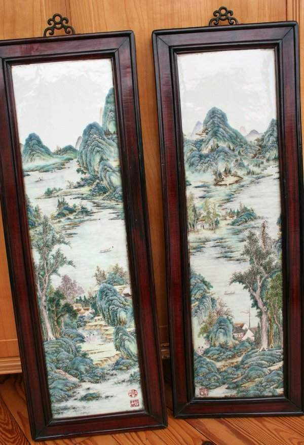 324: Pair Chinese Porcelain Plaques