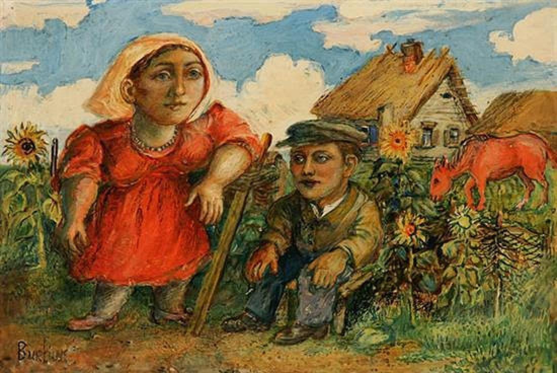David Burliuk Peasants on the Farm  Oil Painting