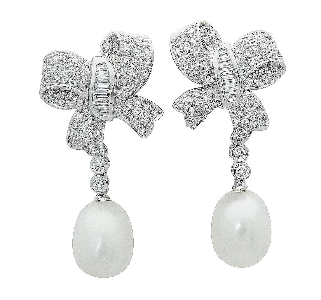 Plat & 18K Gold Diamond Pearl Bow Drop Dangle Earrings