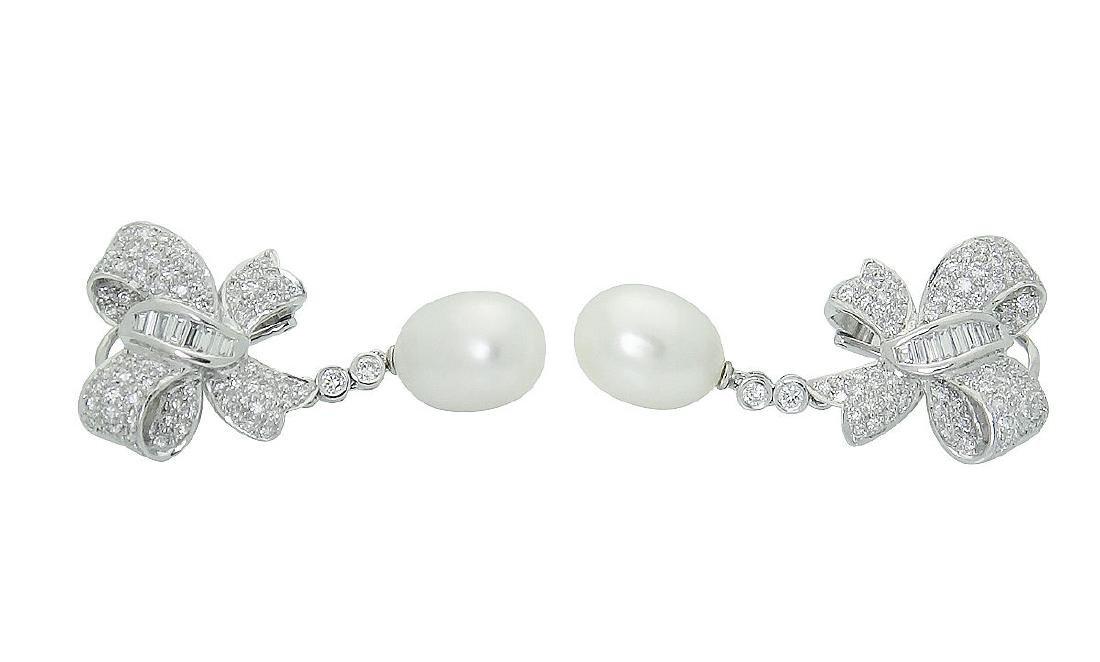 Plat & 18K Gold Diamond Pearl Bow Drop Dangle Earrings - 2
