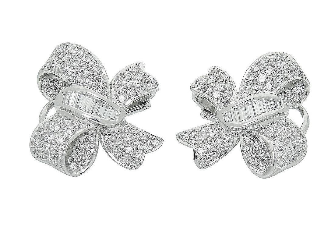 Plat & 18K Gold Diamond Pearl Bow Drop Dangle Earrings - 3