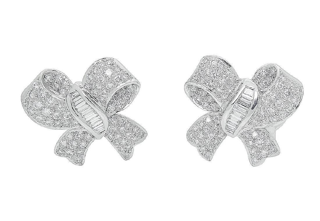 Plat & 18K Gold Diamond Pearl Bow Drop Dangle Earrings - 4
