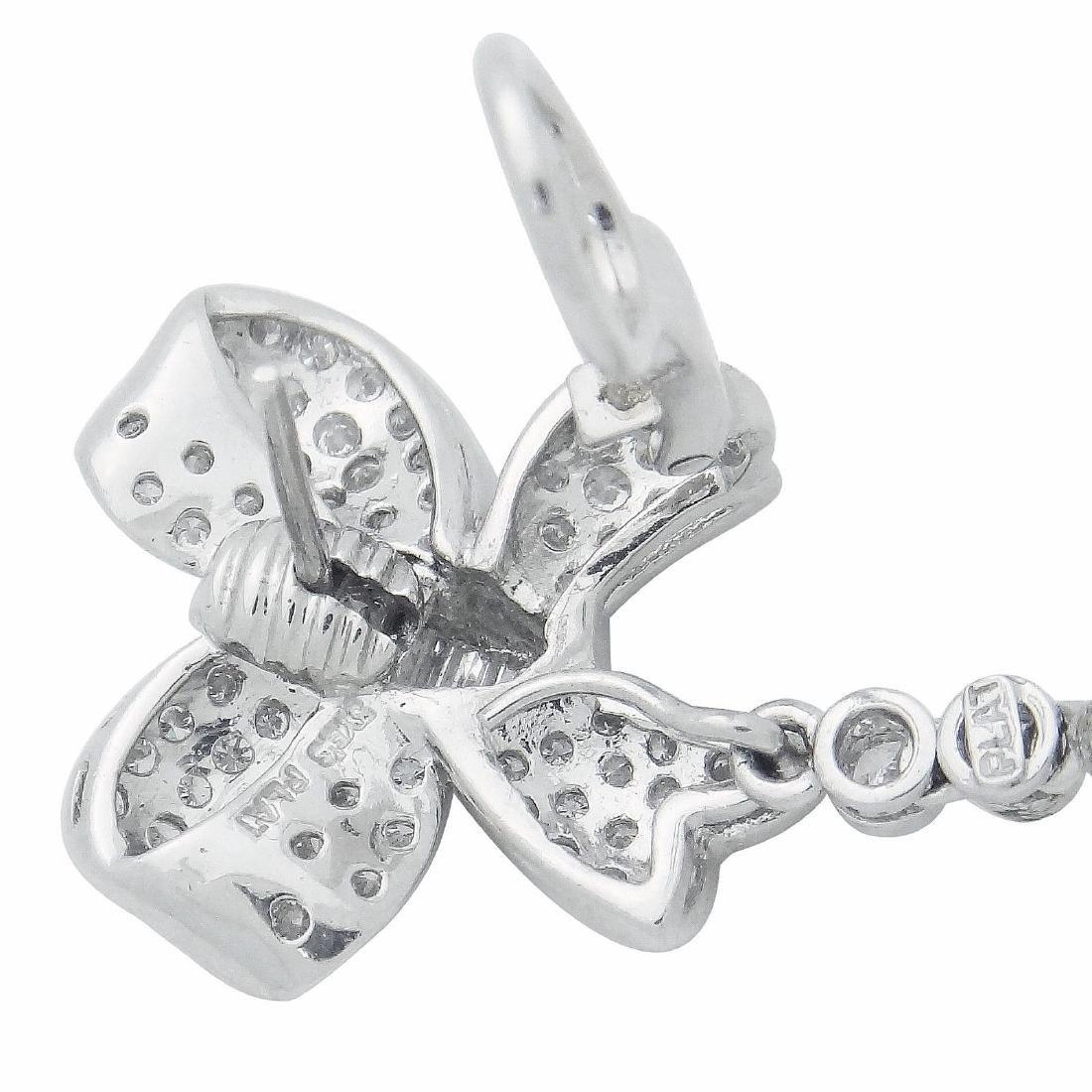 Plat & 18K Gold Diamond Pearl Bow Drop Dangle Earrings - 6