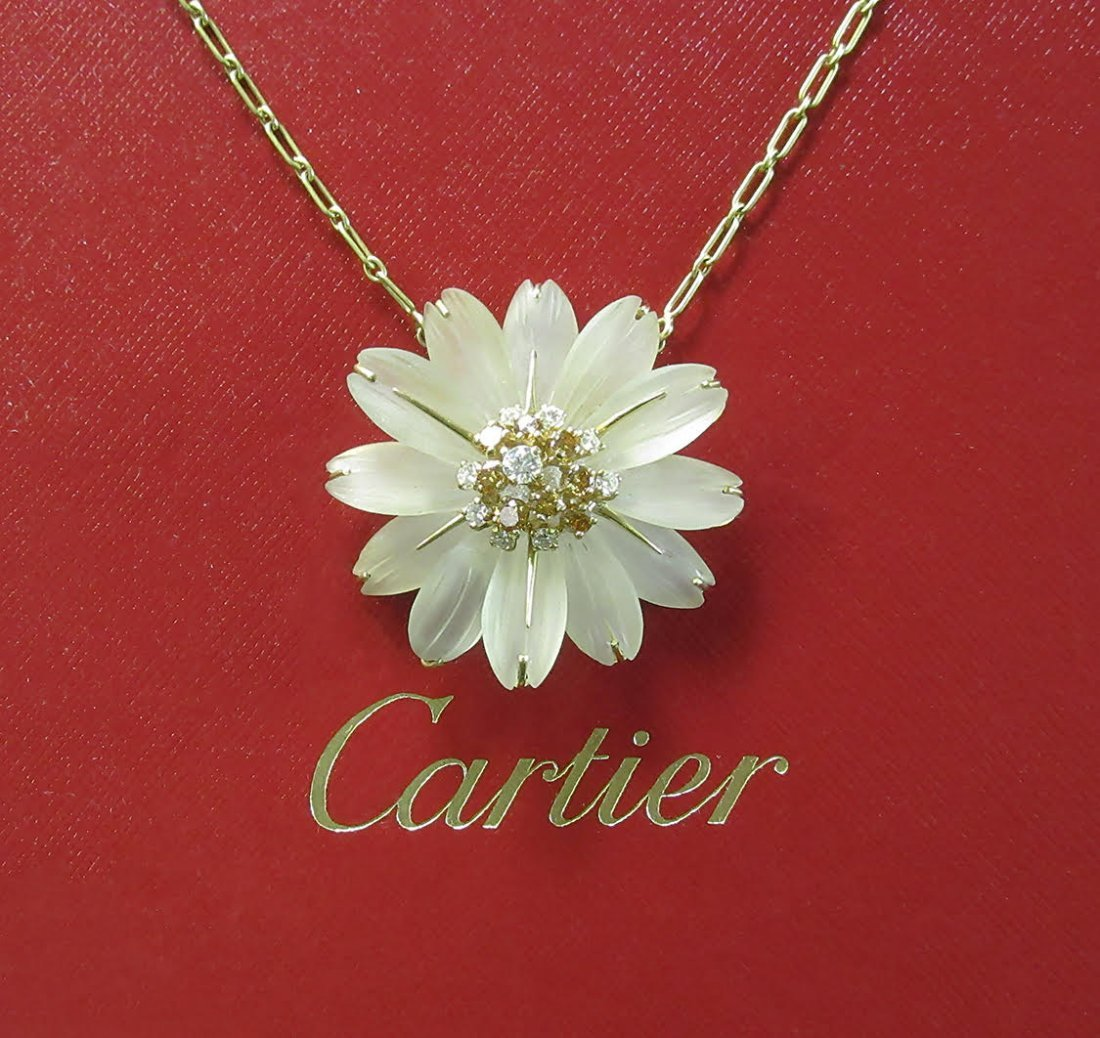Vintage 18k Cartier Quartz Diamond Flower Necklace