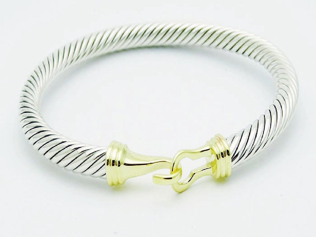 David Yurman 925 Silver Cable Buckle Bracelet 14K Gold