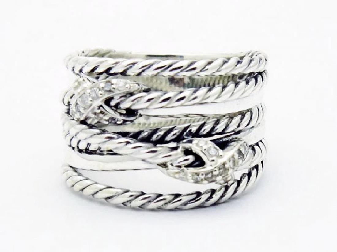 David Yurman 925 Sterling Crossover Ring & Diamonds