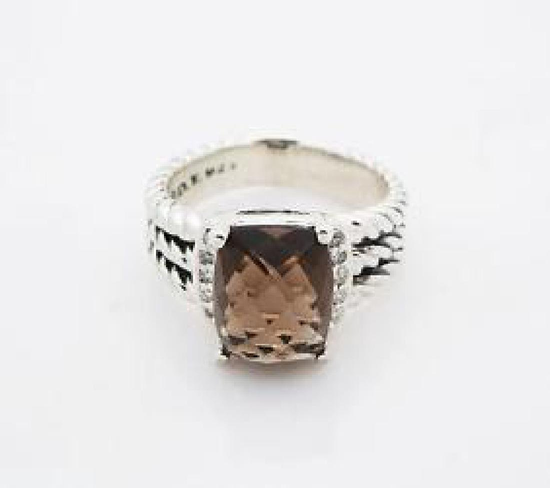 David Yurman Petite Wheaton  Quartz & Diamond Ring - 2