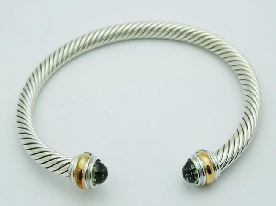 David Yurman 925 Silver Cable Bracelet Prasiolite 14K