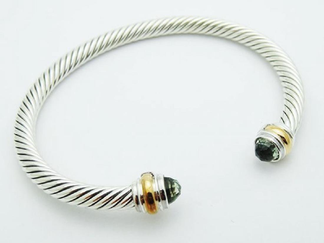 David Yurman 925 Silver Cable Bracelet Prasiolite 14K - 2