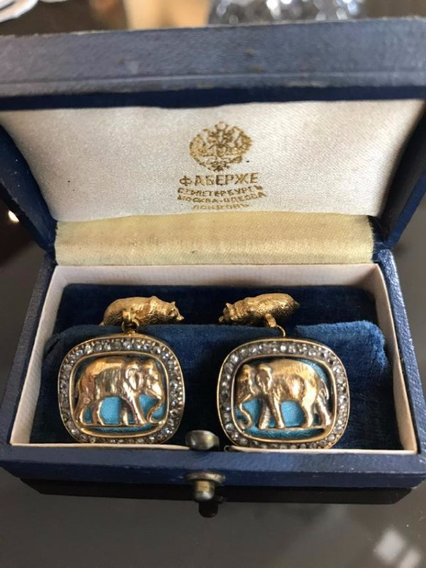Russian Gold Blue  Enamel Diamond Elephant Cufflinks