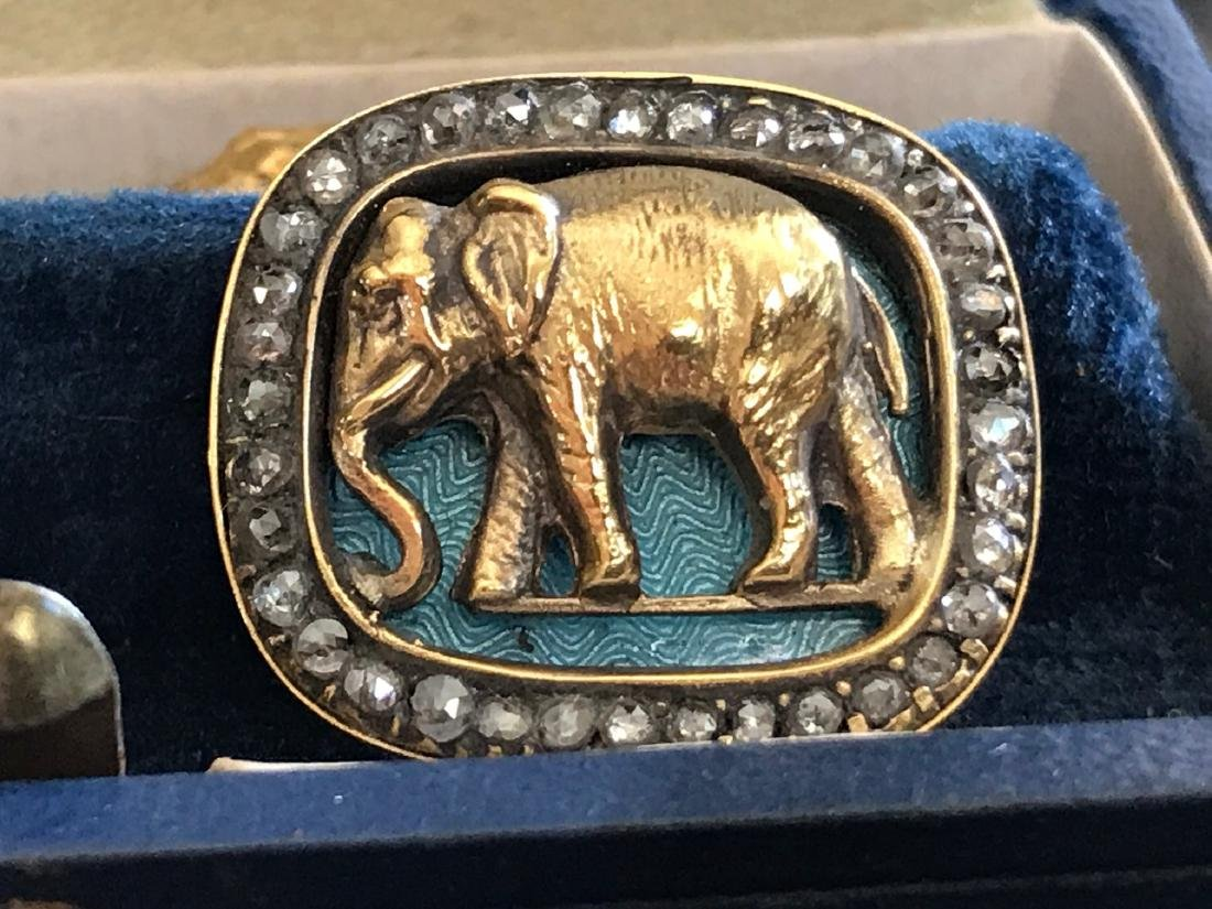 Russian Gold Blue  Enamel Diamond Elephant Cufflinks - 2